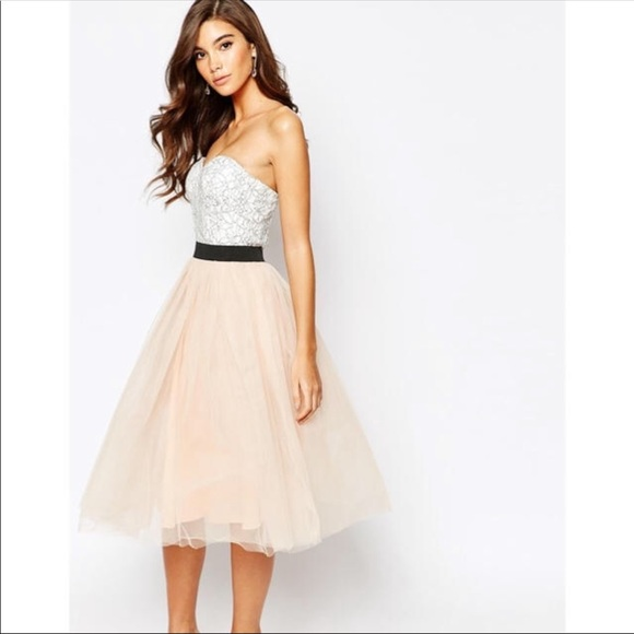 4c07ea96c4 Rare London Lace Prom Midi Dress With Tulle Skirt. NWT. ASOS